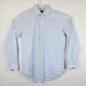 Canali Mens Size 16 Dress Shirt Blue White Checks